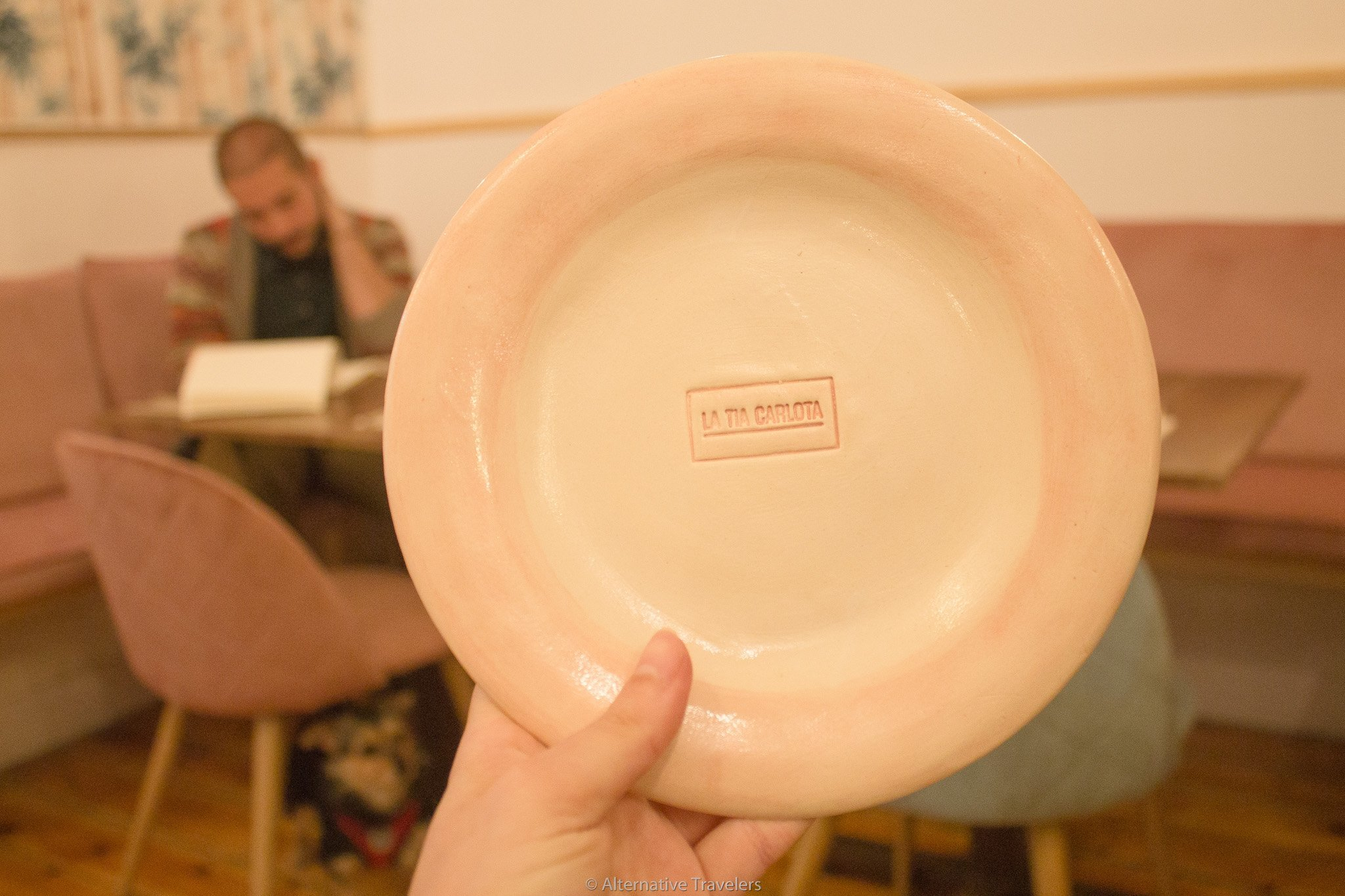 Homemade ceramic plates with La Tia Carlota name | AlternativeTravelers.com