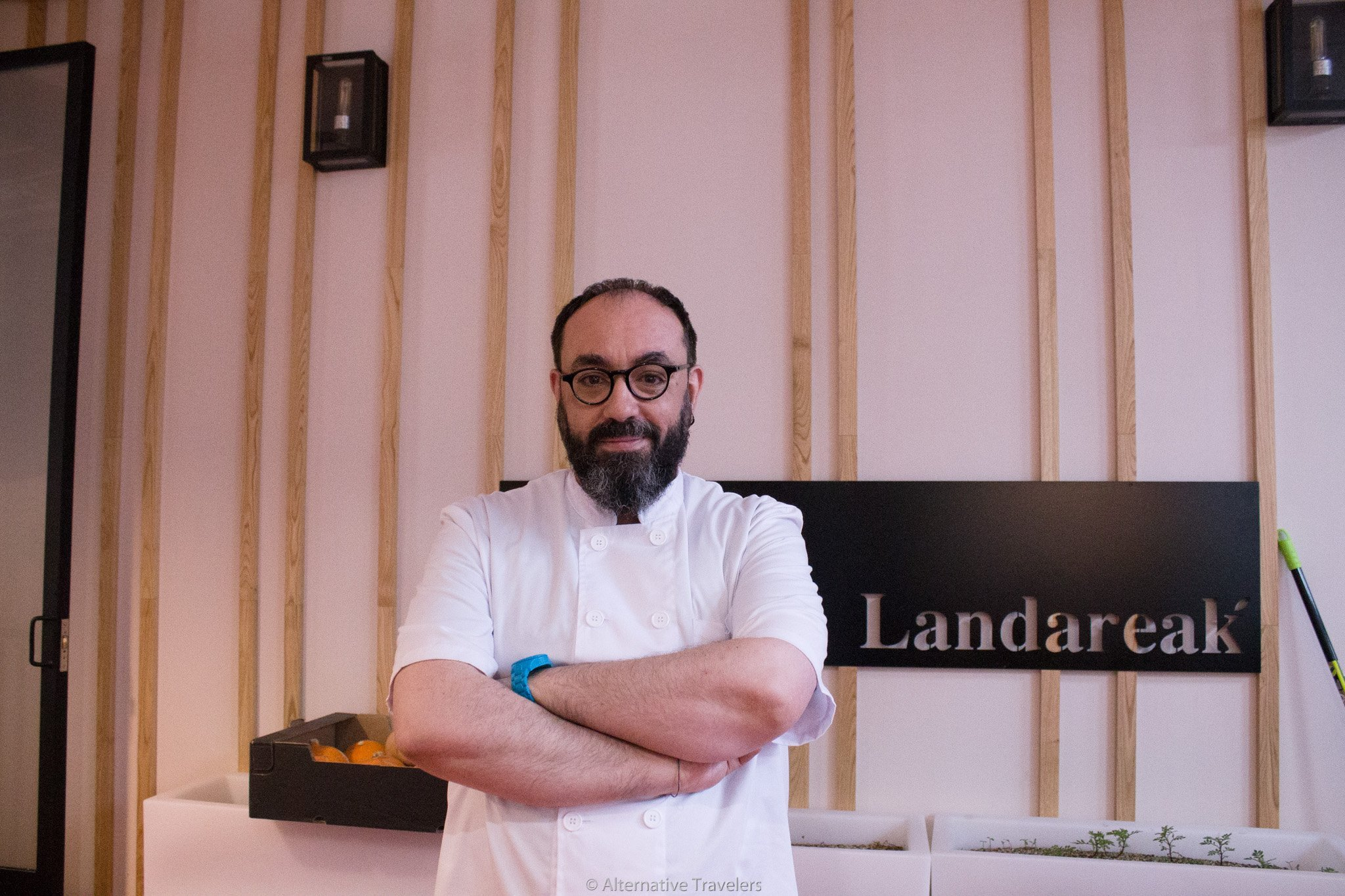 Julian, the chef and owner of Landareak, a vegan restaurant in Madrid.
